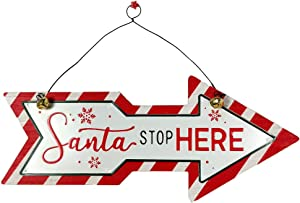 HOMirable Christmas Wooden Arrow Sign, Santa Stop HERE Ornament Hanging Sign, Farmhouse Rustic Decorations, Vintage Home Decor Wall Art Plaque Gift for Kitchen, Yard, Front Door - White