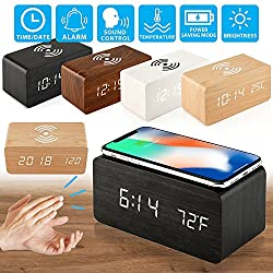 Oct17 Wooden Alarm Clock with Qi Wireless Charging Pad for iPhone Samsung, Wood LED Digital Clock with Sound Control Function, Time Date, Temperature Display for Bedroom Office Home