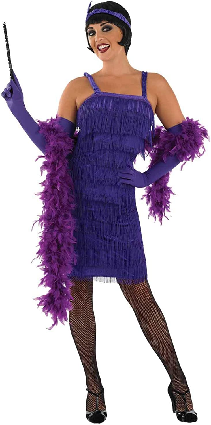 Womens 20s Flapper Girl Costumes Fringed Decades Dresses: Clothing