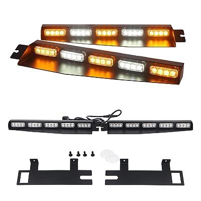 """AutronLEDLight 34"""" Strobe Light Bar/40 LED Emergency Warning/Visor Windshield Lights Hazard Split Deck Red White: Car Electronics"""