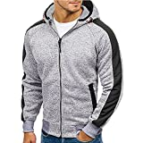Mens Long Sleeve Blouses Clearance Men's Autumn Patchwork Zipper Hooded Sweatshirt Outwear Tops Blouse By WEUIE(2XL, Gray )