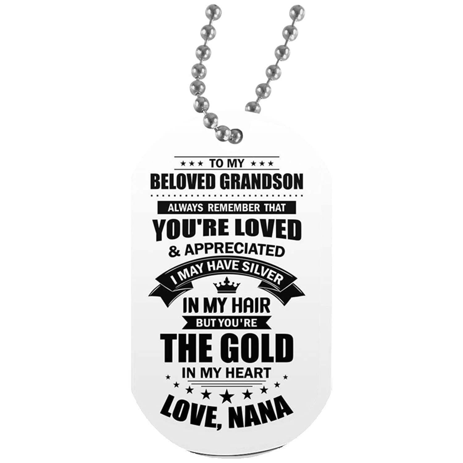 Customized Grandma Grandson Dog Tag Necklace Military Boys Jewelry