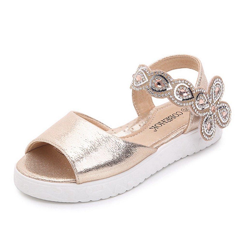CYBLING Flower Girl Sandals Summer Open Toe Metallic Princess Flat Shoes (Toddler/Little Kid)