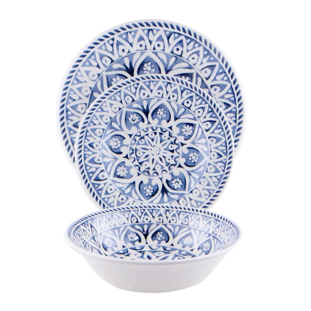 12 Pcs Melamine Indoor Outdoor Dinnerware Set Service For 4 Round Pattern of Break-Resistant (Blue)