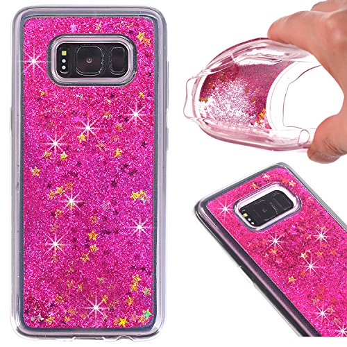 Galaxy S8+ Case, AIKIN Galaxy S8 plus Glitter Case Luxury Fashion Bling Flowing Liquid Floating Sparkle Glitter Hard Quicksand Waterfall soft PC Cover Case for Samsung Galaxy S8 plus (Rose) (Waterfall Samsung)