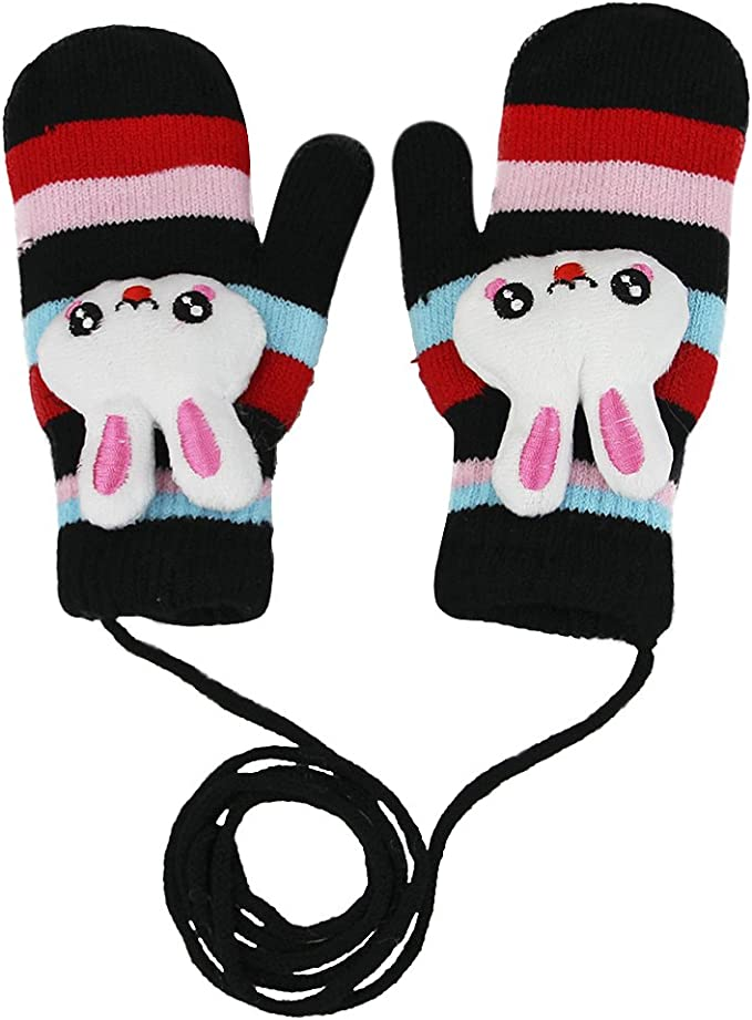 Girls and Boys Cute Cartoon Sheep Windproof Suede Mittens Kids Gloves Warm with String Blue
