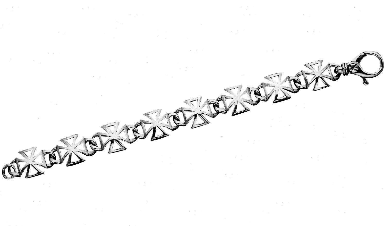 Polished Sterling Silver Openwork Maltese Cross 8.5'' Bracelet