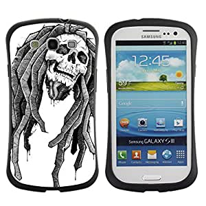 Hybrid Anti-Shock Bumper Case for Samsung Galaxy S3 / Rasta Skull