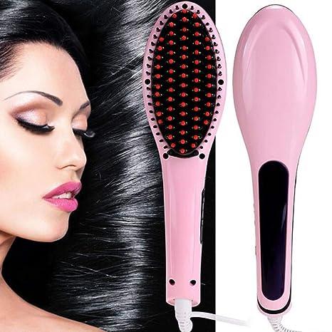 37YIMU® LCD Eléctrico Peine alisador de pelo Cepillo de hierro caliente Auto rápido Herramienta del