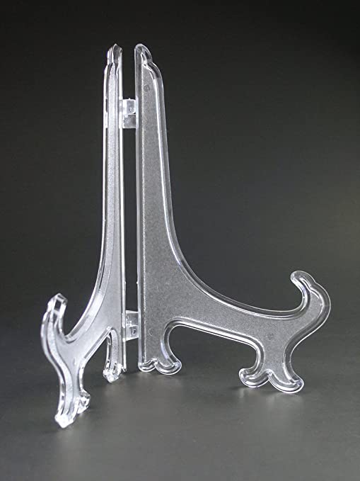 "7/"" Plastic Adjustable Easels Plate Picture Display Stand Holder 10 Lot Set Black"
