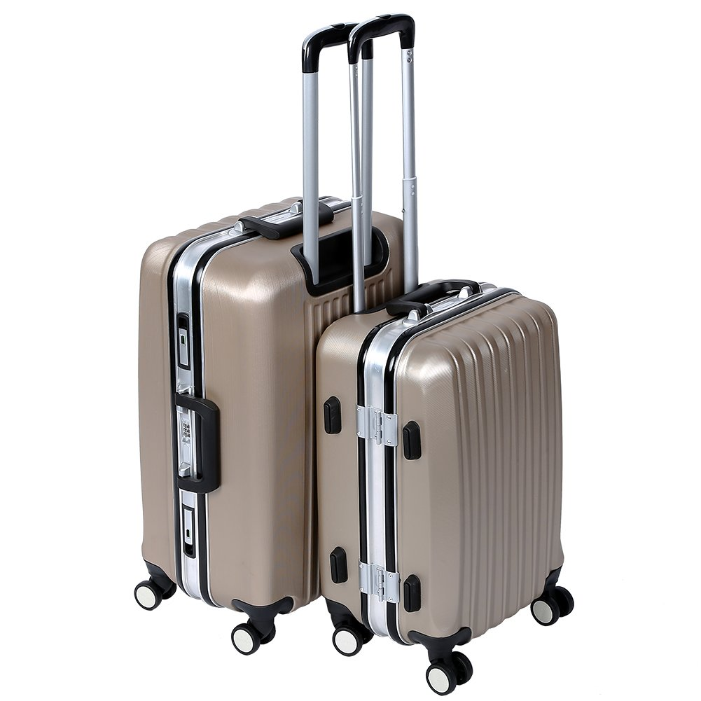 Lightweight Luggage Sets Glossy Trolley Case Suitcase Sets Hard Slide Spinner Expandable Luggage Bag for Travel and Business (20'', 24'') TSA, Gold