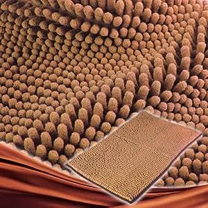 Nonslip Microfiber Chenille Floor Mat Bedroom Area Rug Carpet 40*60cm, Pet Rug, 4 Colors Available, Coffee