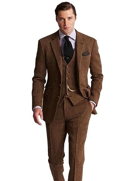High-End Suits Retro 3 Piezas café Gris Tweed Herringbone Traje para Hombre  Slim Fit d9be073fd07