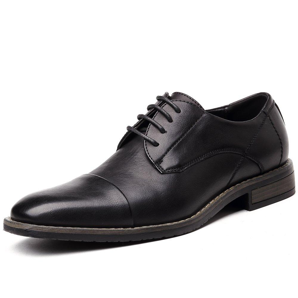 OUOUVALLEY Men's Lace Up Cap Toe Oxford Dress Shoes (13 D(M) US, OUOU-002Black)