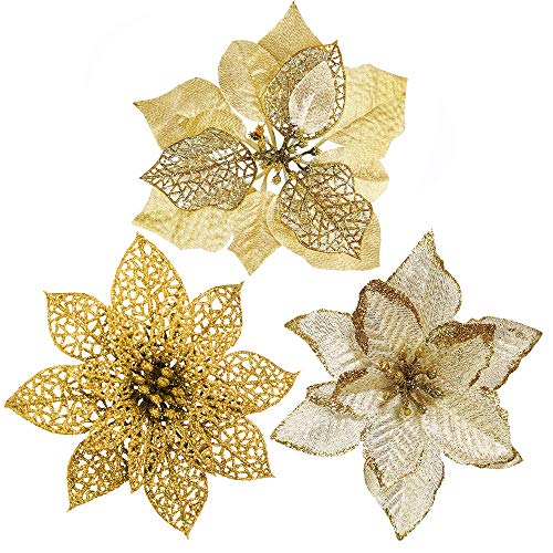 CraftMore Red and Gold Glitter Flower Pick 12 Set of 6