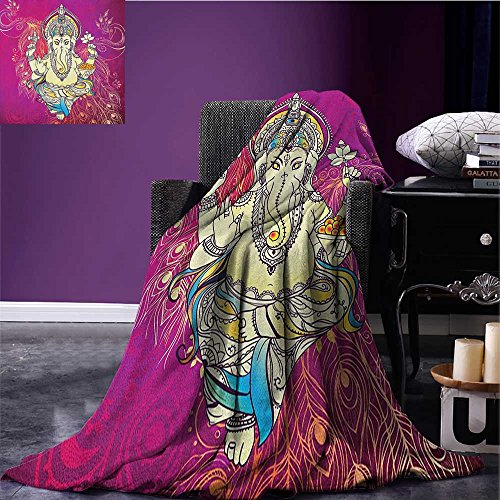Asian outdoor blanket Folkloric Elephant over Ornate Peacock Feather Featured Floral Backdrop Bohemian Custom made Pink Yellow size:51