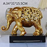 BWLZSP 1PCS Crafts elephant ornaments hollowed out like European living room decorations resin animal ornaments lucky elephant Lu611421 (Color : A)