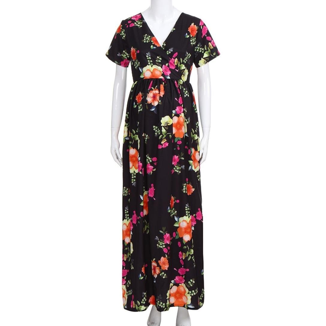 27c7fc97ca7 Amazon.com   Womens V Neck Floral Maxi Nursing Pregnancy Dress Summer  Casual Maternity Short Sleeve Maxi Long Dresses (S