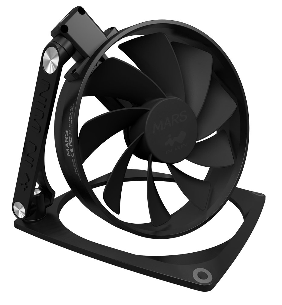 InWin Mars Black 120mm Fan Aluminum 360 Degree Rotate Three Hinge Transformer Design Premium Quality Silent Computer Case Fan Cooling