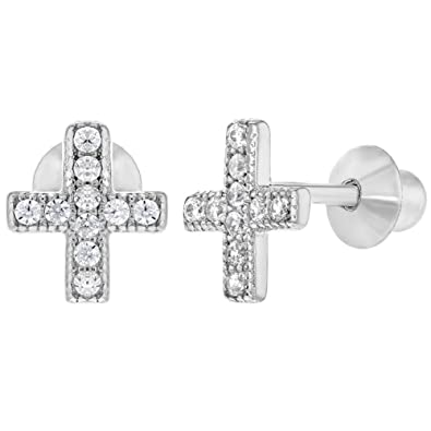 97c7bf11a 925 Sterling Silver Little Clear CZ Screw Back Cross Earrings Infants Kids:  Amazon.co.uk: Jewellery