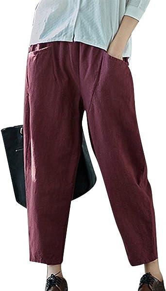 Femme Pantalon De Loisirs Taille Élastique