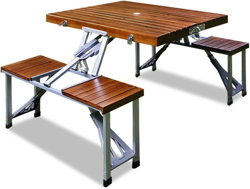 Deuba Conjunto plegable de camping 4 personas con mesa y sillas de aluminio y madera pícnic jardín exterior eventos