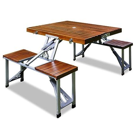 Ensemble table et chaises en alu pliant 4 places bois pique-nique camping  salon