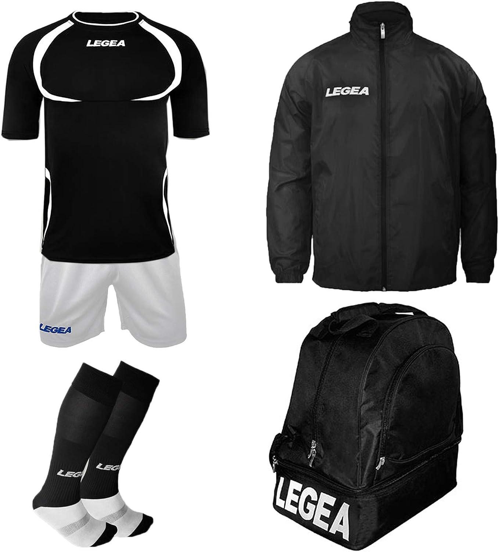 LEGEA - Kit de fútbol Taipei MC + calcetín + Bolsa y K-Way - Futbolín de Entrenamiento Completo - Bolsa Impermeable, Negro-Blanco, XX-Large: Amazon.es: Deportes y aire libre