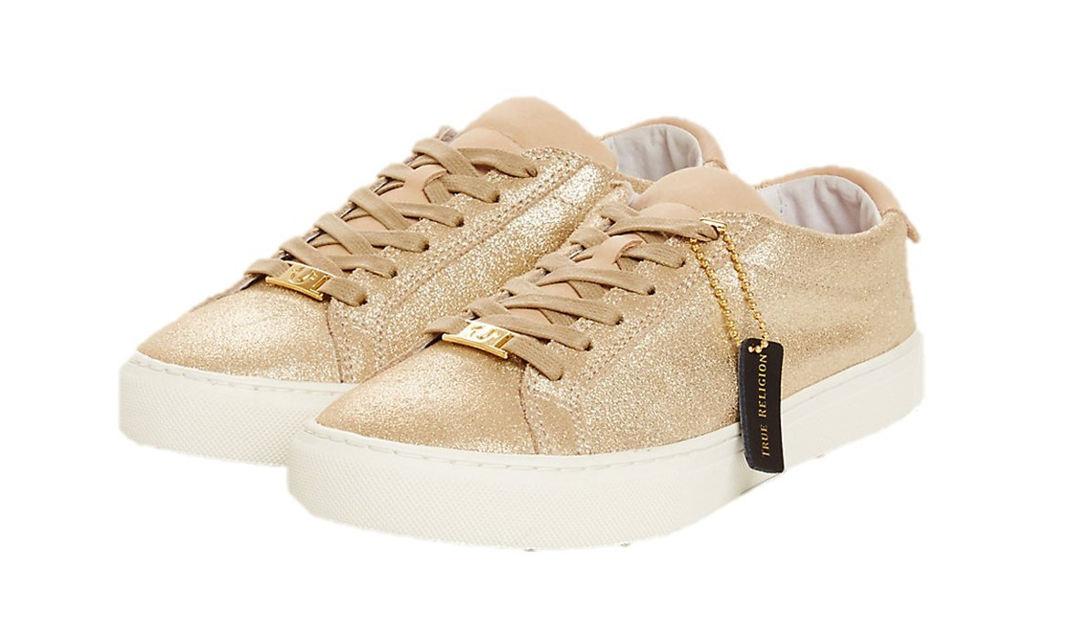 True Religion Women's TR Low-Top Sneakers (7, Gold)