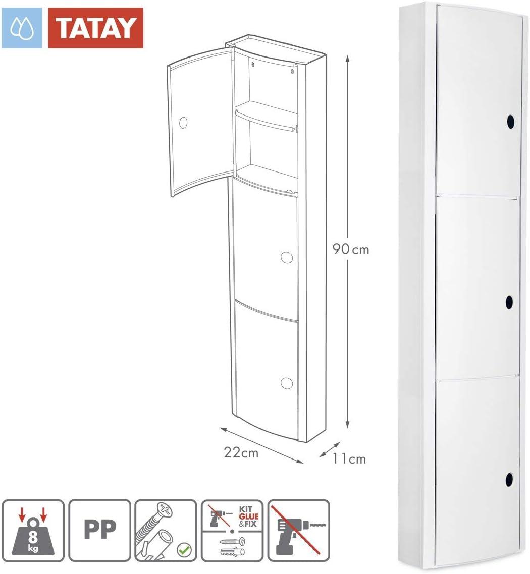 TATAY 4480002/Mobile da Bagno Verticale con 3/Porte plastica Bianco 22/x 10/x 90,5/cm