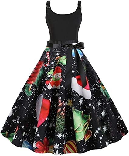 Christmas Dress for Women 50s Vintage Sleeveless Retro Cocktail A Line Xmas Snowflake Printed Swing Party Dress Costume