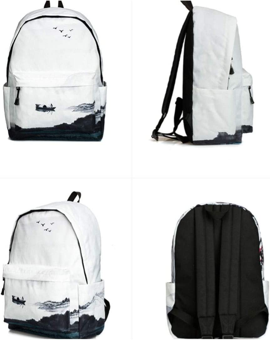 Chinese Style Campus Shengshihuizhong Backpack Unisex Featured Backpack Ink Painting Backpack Leisure Travel Bag Student Bag Shape : 1