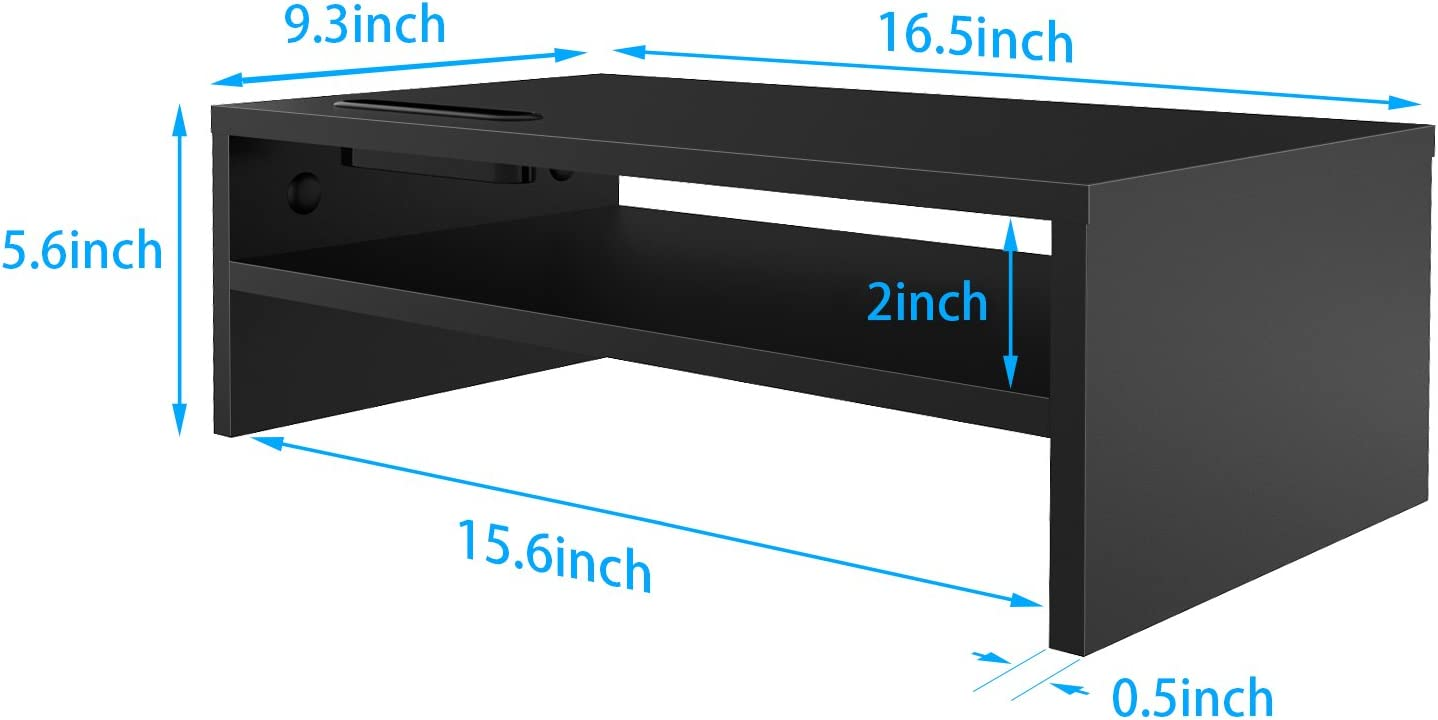 1home Wood Monitor Stand TV PC Laptop Computer Screen Riser Desk Storage Black W420 x D235 x H104 with Smartphone Holder and Cable Management