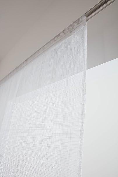 RideauDiscount Paire de Voilages Vitrages 60 x 160 cm Passe Tringle Trame Naturelle Blanc