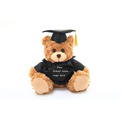 Plushland Plush Teddy Bear - Mocha Color for Graduation Day, Personalized Text, Name or Your School Logo on T-Shirt, Best for Any Grad School Kids, Boys, Girls A (6 Inches): Toys & Games