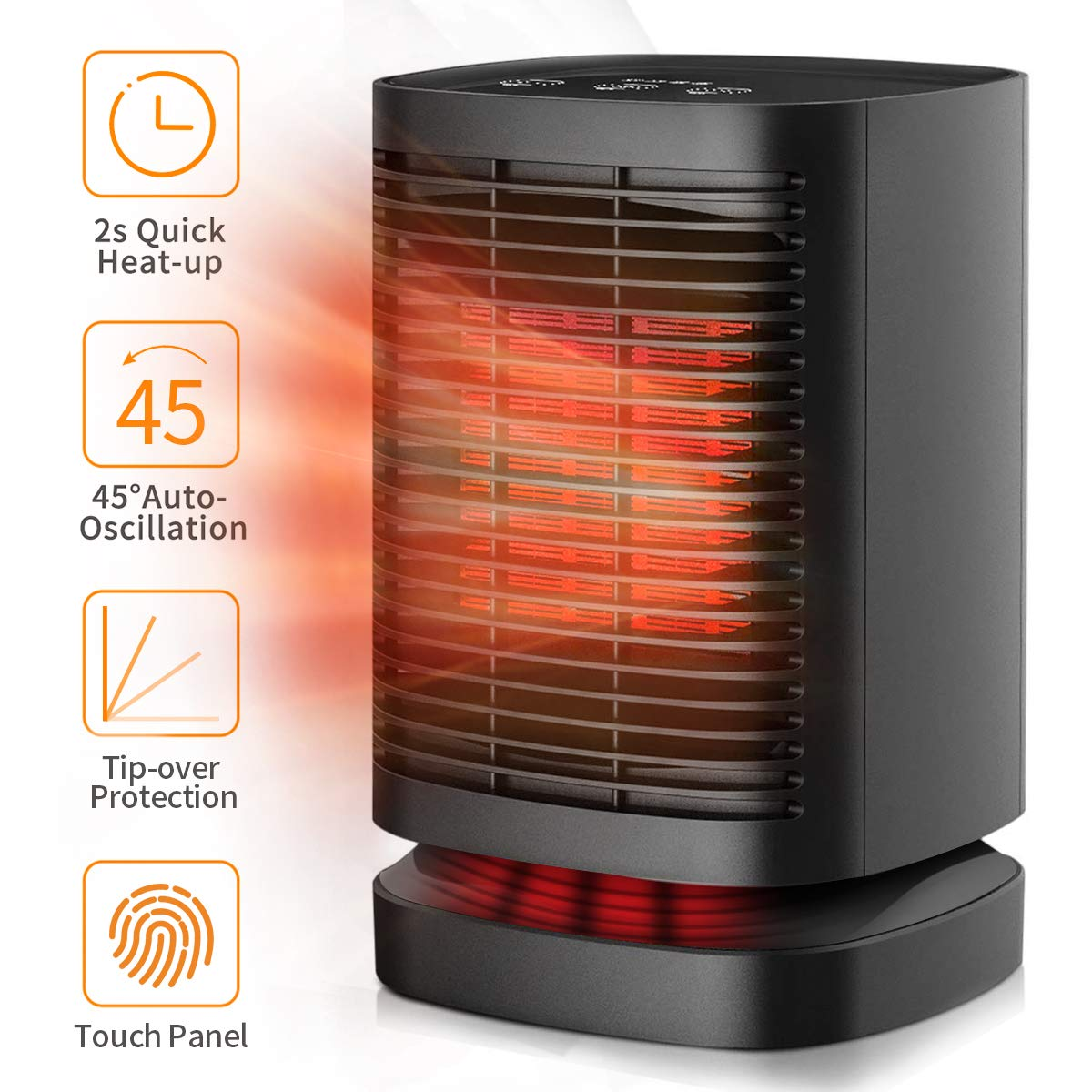 Space Heater, Small Ceramic Portable Personal Quick Heat-up Oscillating Table Fan with Overheat Tip-Over Protection for Home Indoor and Office Desktop, Electric Heater