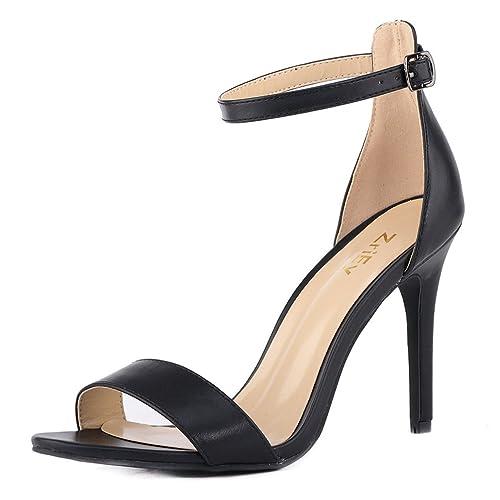 375d8e209e ZriEy Women's Heeled Sandals Ankle Strap High Heels 10CM Open Toe Bridal  Party Shoes