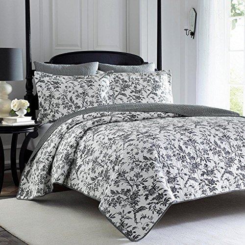 3pc whimsical black white full queen quilt set cotton floral 3pc whimsical black white full queen quilt set cotton floral themed bedding vintage antique mightylinksfo