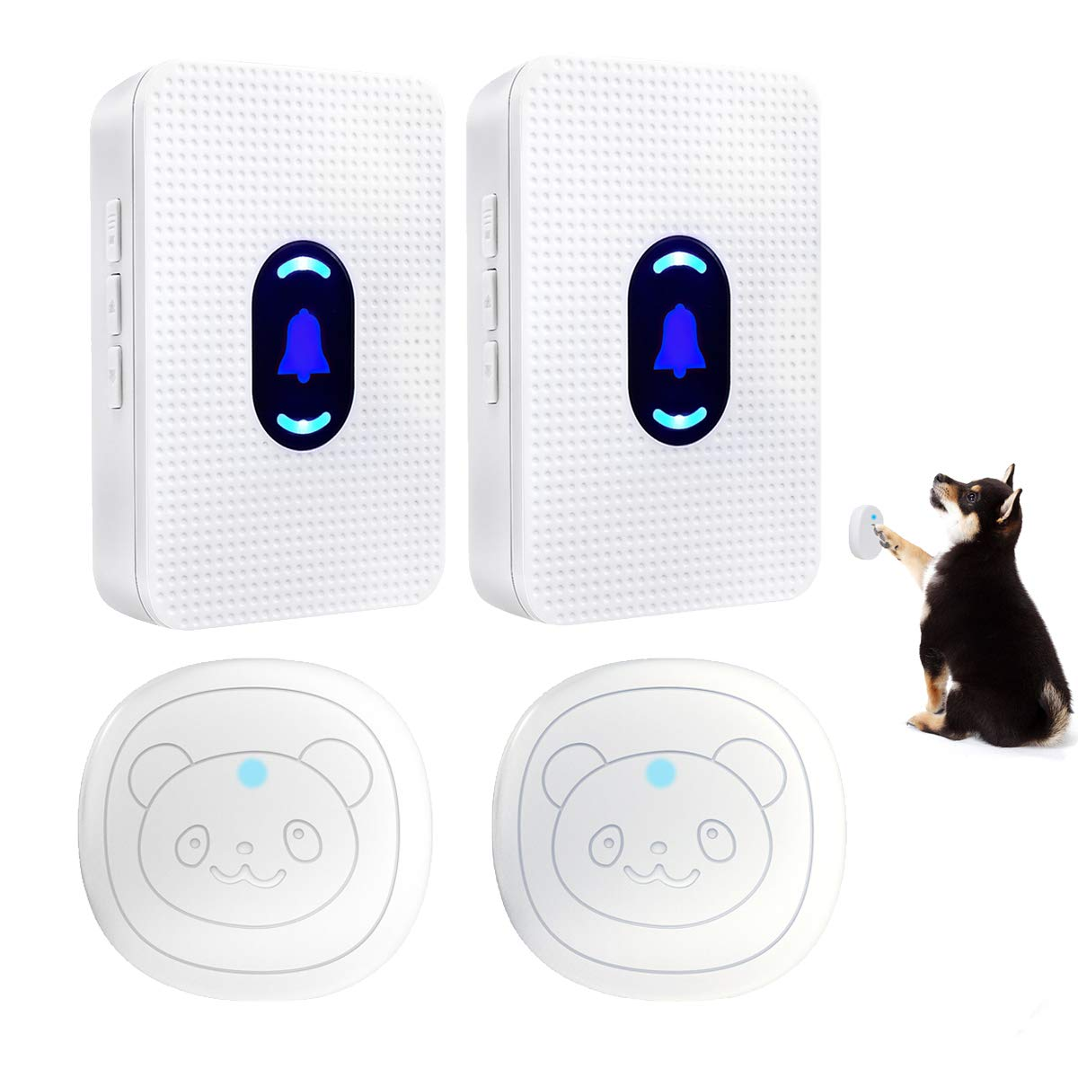 Daytech Dog Door Bell Wireless Doggie Doorbell Potty Communication Door Bell with Touch Button(2 ReceiverS & 2 Transmitters)
