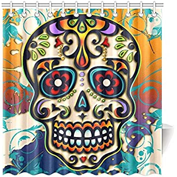InterestPrint Mexico Dia De Los Muertos Sugar Skull Day Of Dead Polyester Fabric Shower Curtain Bathroom Sets Home Decor 69 X 72 Inches
