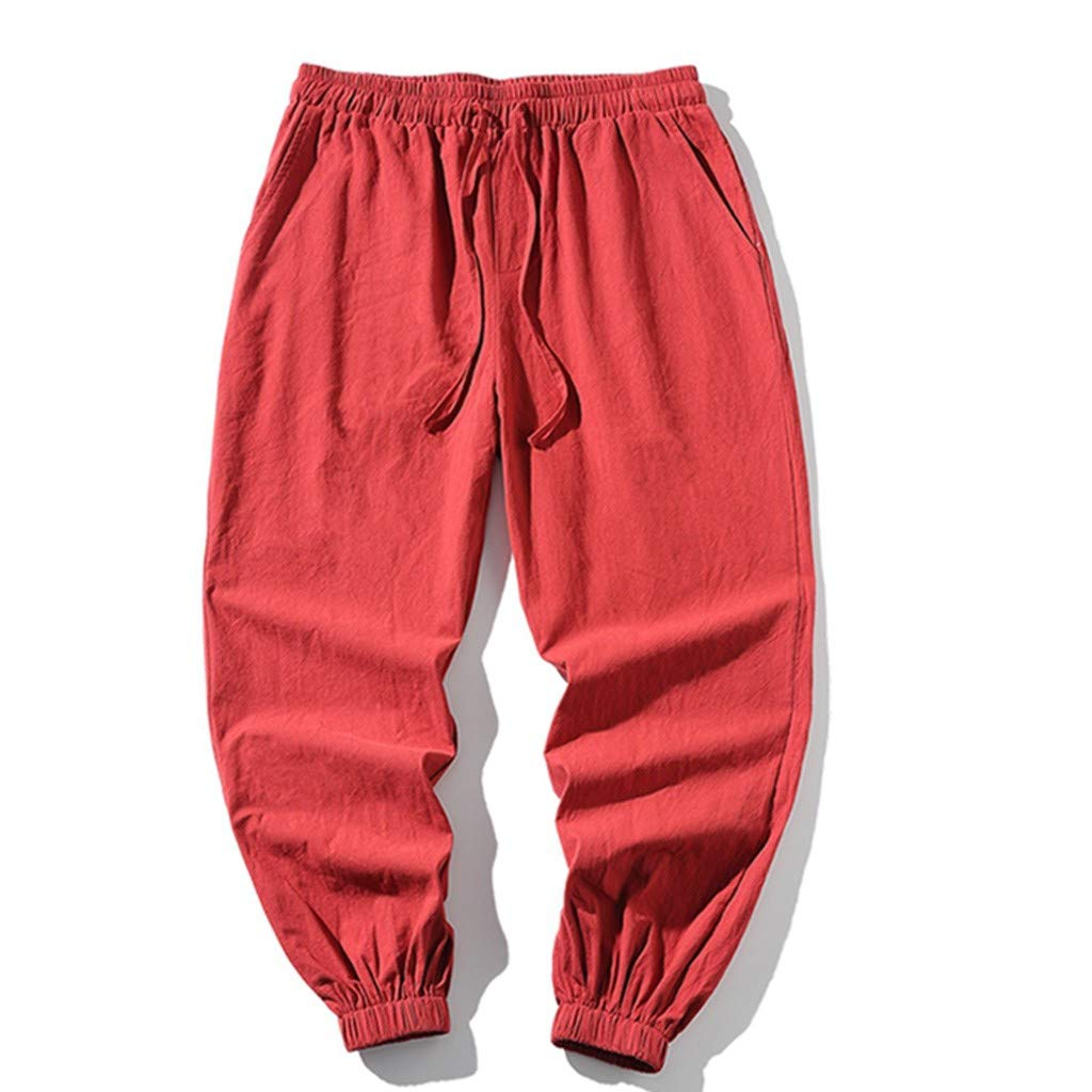 iYBUIA Mens Summer Linen Harren Baggy Animal Print Wide-Legged Pants Comfortable Hip Hop Pant