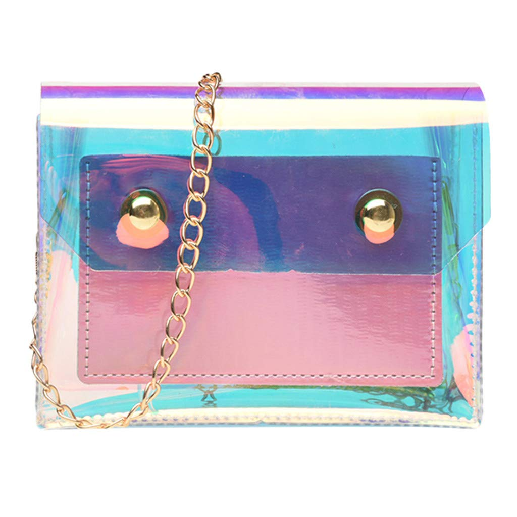 PLENTOP Backpack Purse Women,Indian Purses for Women,Fashion Lady Personality Transparent Jelly Chain Shoulder Wild Messenger Bag