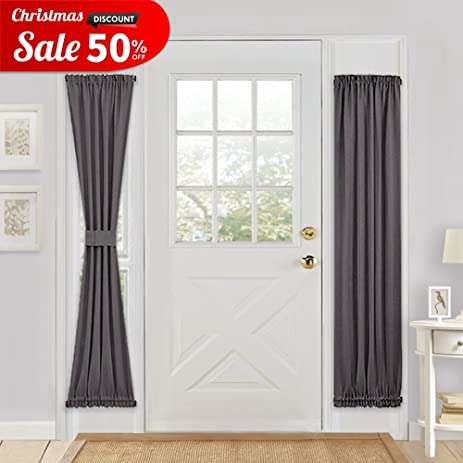 Grey Blackout French Door Curtain - PONY DANCE Energy Saving Thermal Insulated Window Drapery / Door