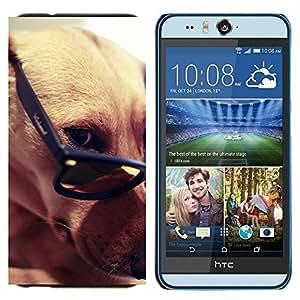 EJOOY---Cubierta de la caja de protección para la piel dura ** HTC Desire Eye M910x ** --Greyhound gafas inteligentes del perro de Brown
