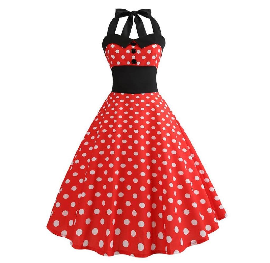 Singleluci Women's Vintage 50's 60's Polka Dot Halter Cocktail Swing Dress Rockabilly Dress (Red, S)