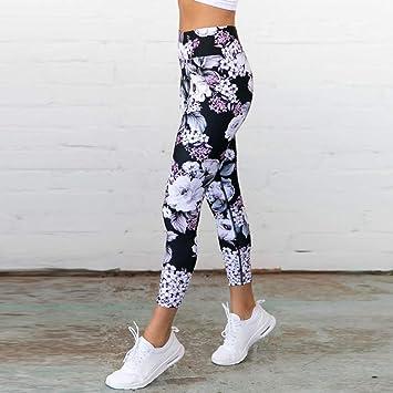 GSYJK Negro Floral Mujer Pantalones De Yoga Leggings ...