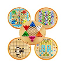 Five-in-One Wood Chinese Checker Desktop Games Deluxe Family Games