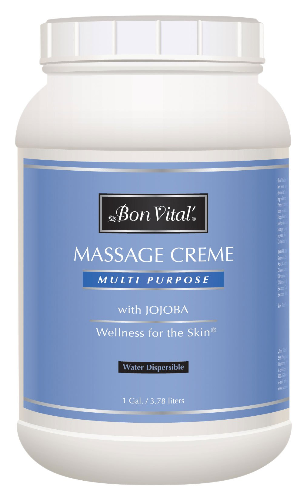 Bon Vital' Multi-Purpose Massage Crème, Professional Massage Cream with Aloe Vera to Relax Sore Muscles, Increase Circulation & Repair Dry Skin, Full Body Massage Moisturizer Cream, 1 Gallon Jar