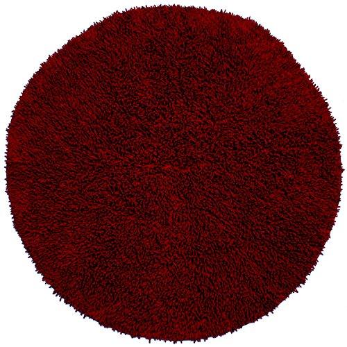 Shagadelic Chenille Twist Round Rug, 3 by 3-Feet, (Burgundy Round Rug)