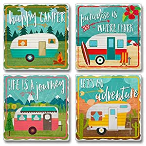 Highland Graphics 4 Pc Set of Square Stone Coasters - Happy Campers